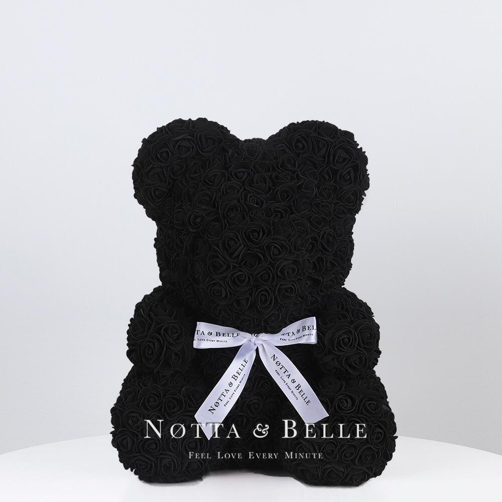Černý medvídek z růží - 35 cm