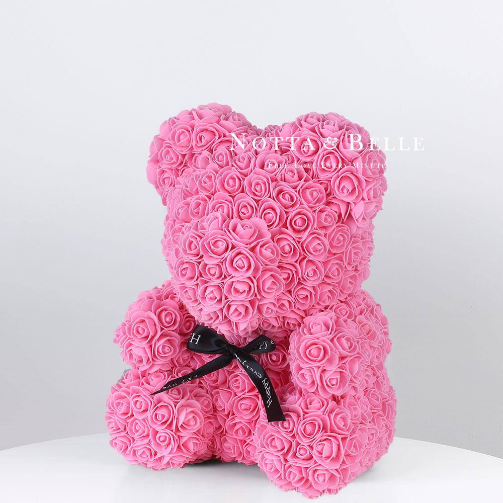 Розовый мишка из роз - 35 см (Китай)