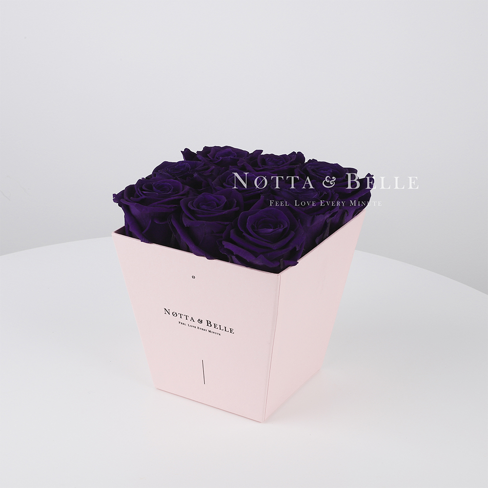 Долговечный букет из 9 фиолетовых роз - №155