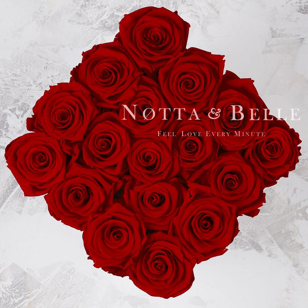 Долговечный букет из 17 бордовых роз - №465