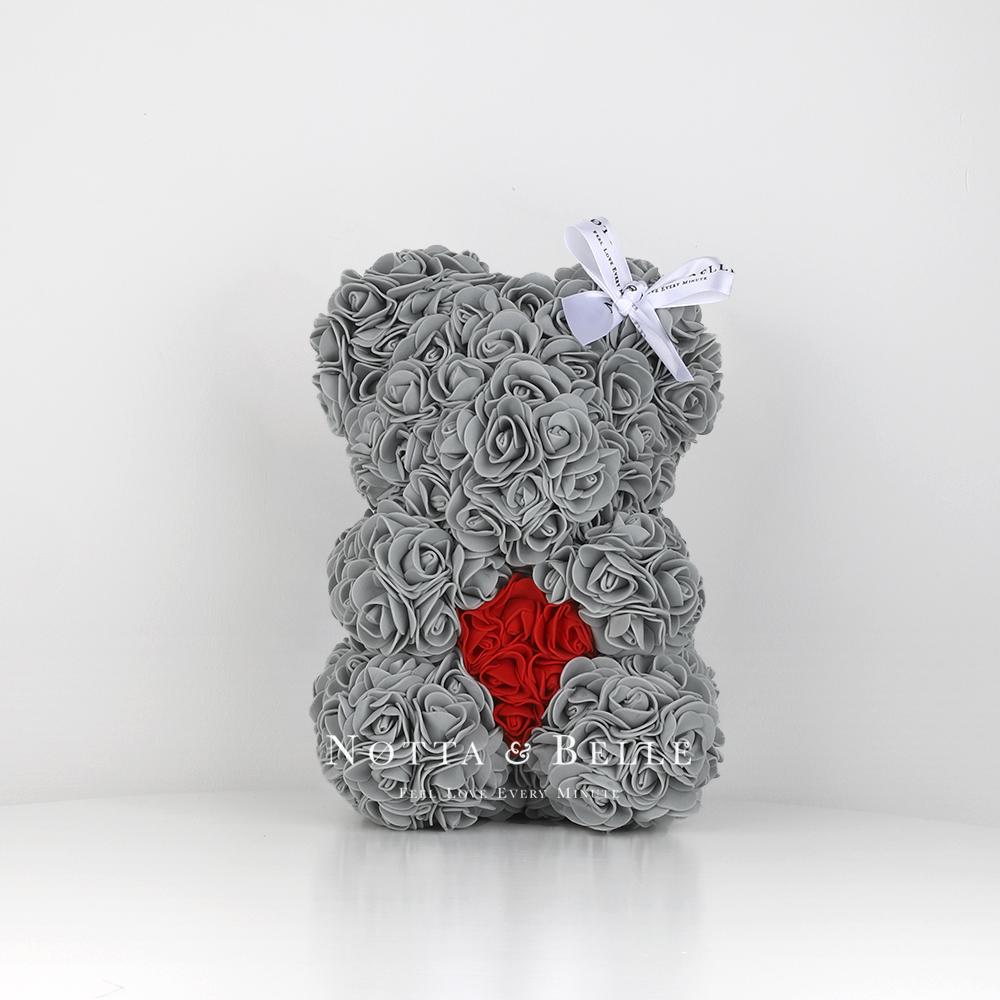 Серый мишка из роз с сердцем - 25 см