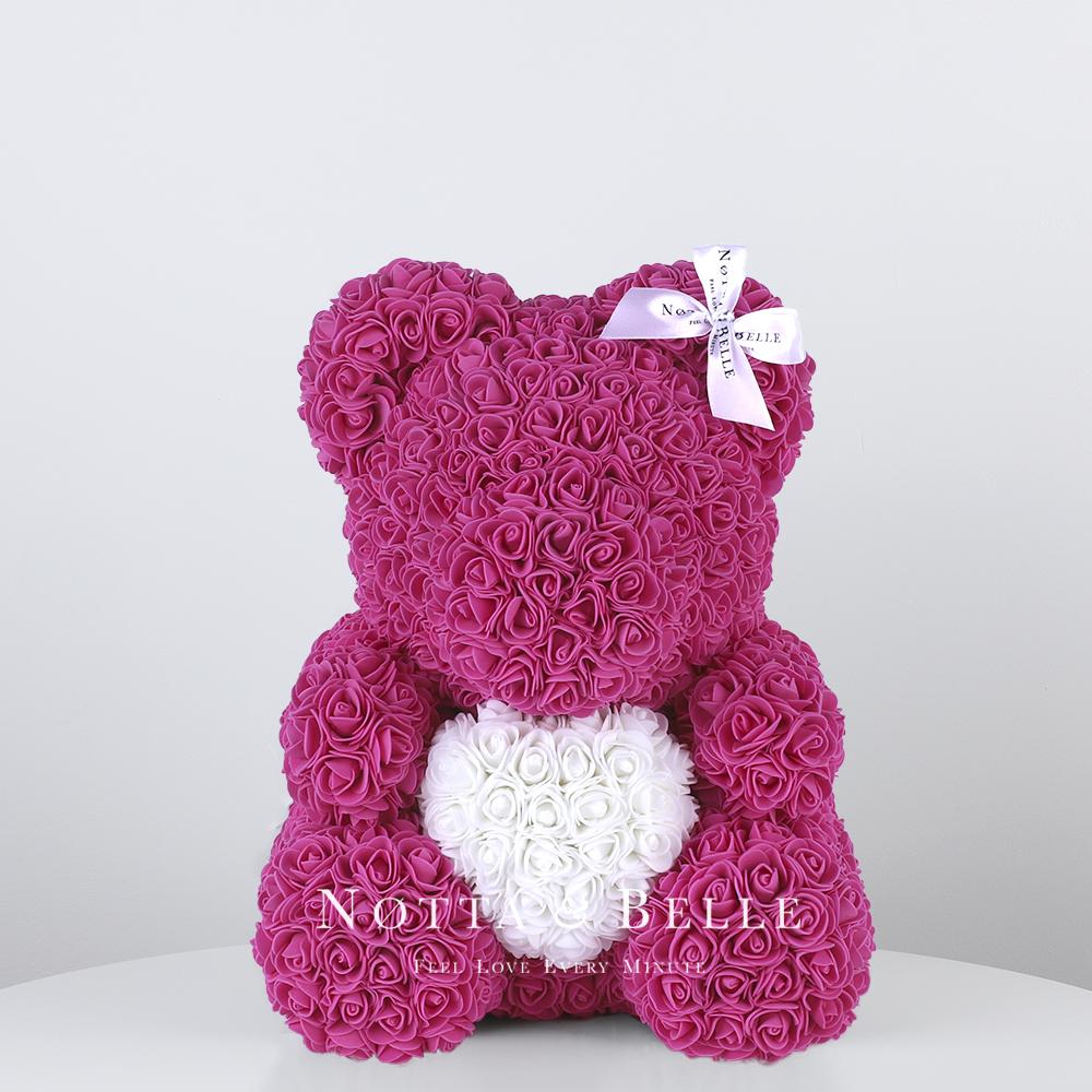 Mishka iz roz fioletovogo cveta s belym serdcem - 35 sm [copy] [copy]