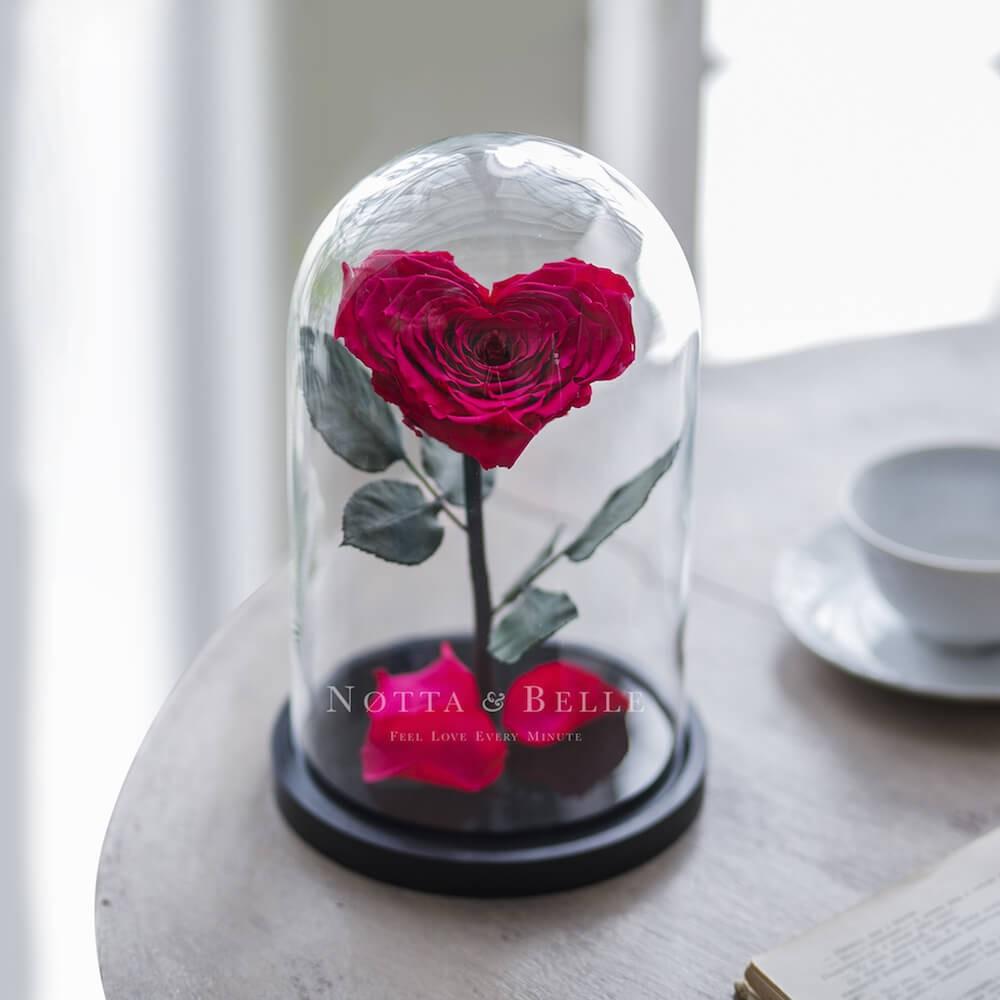 Роза цвета Фуксии Premium в форме сердца