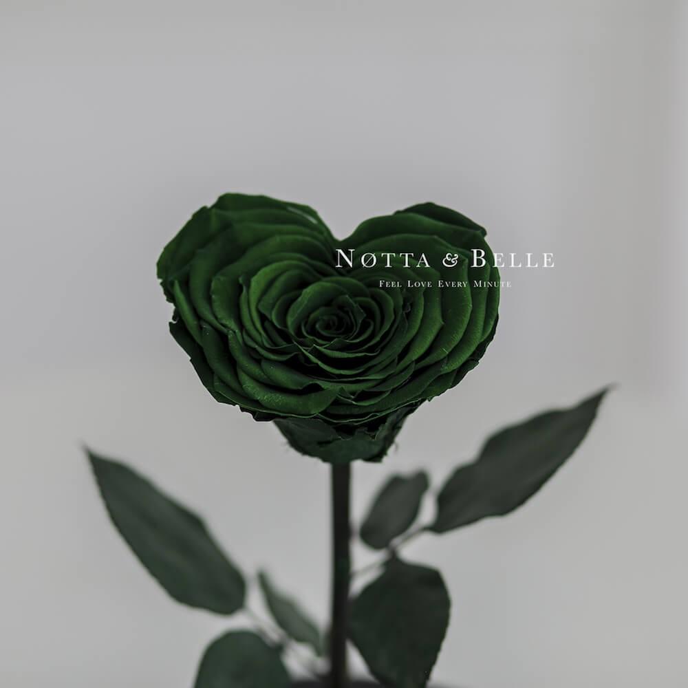 Бутон в форме сердца темно зеленой розы в колбе - Premium