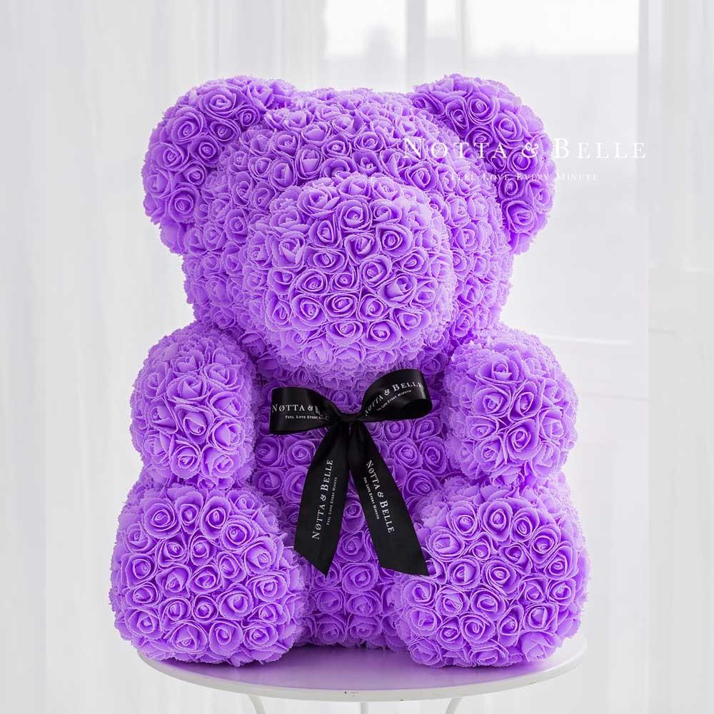 Фиолетовый мишка из роз - 70 см