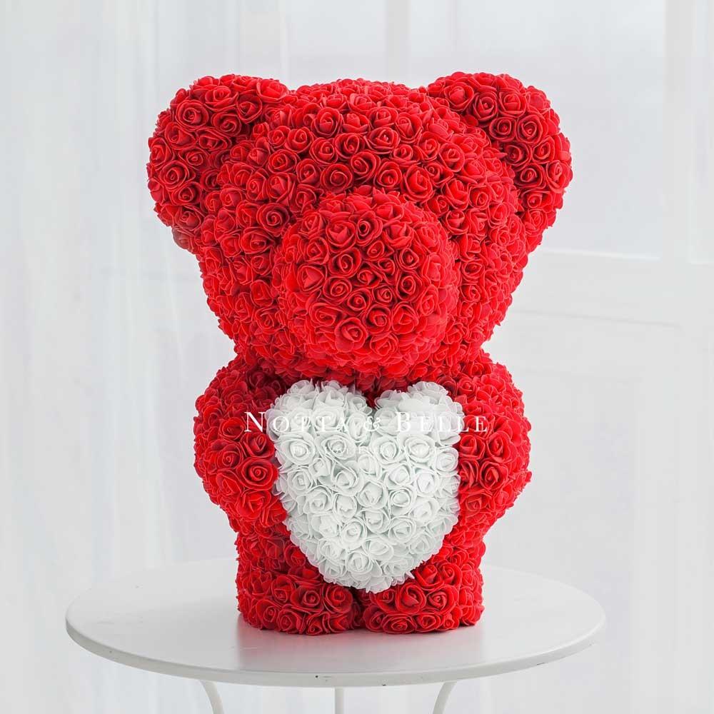 Красный мишка из роз с сердцем - 60 см