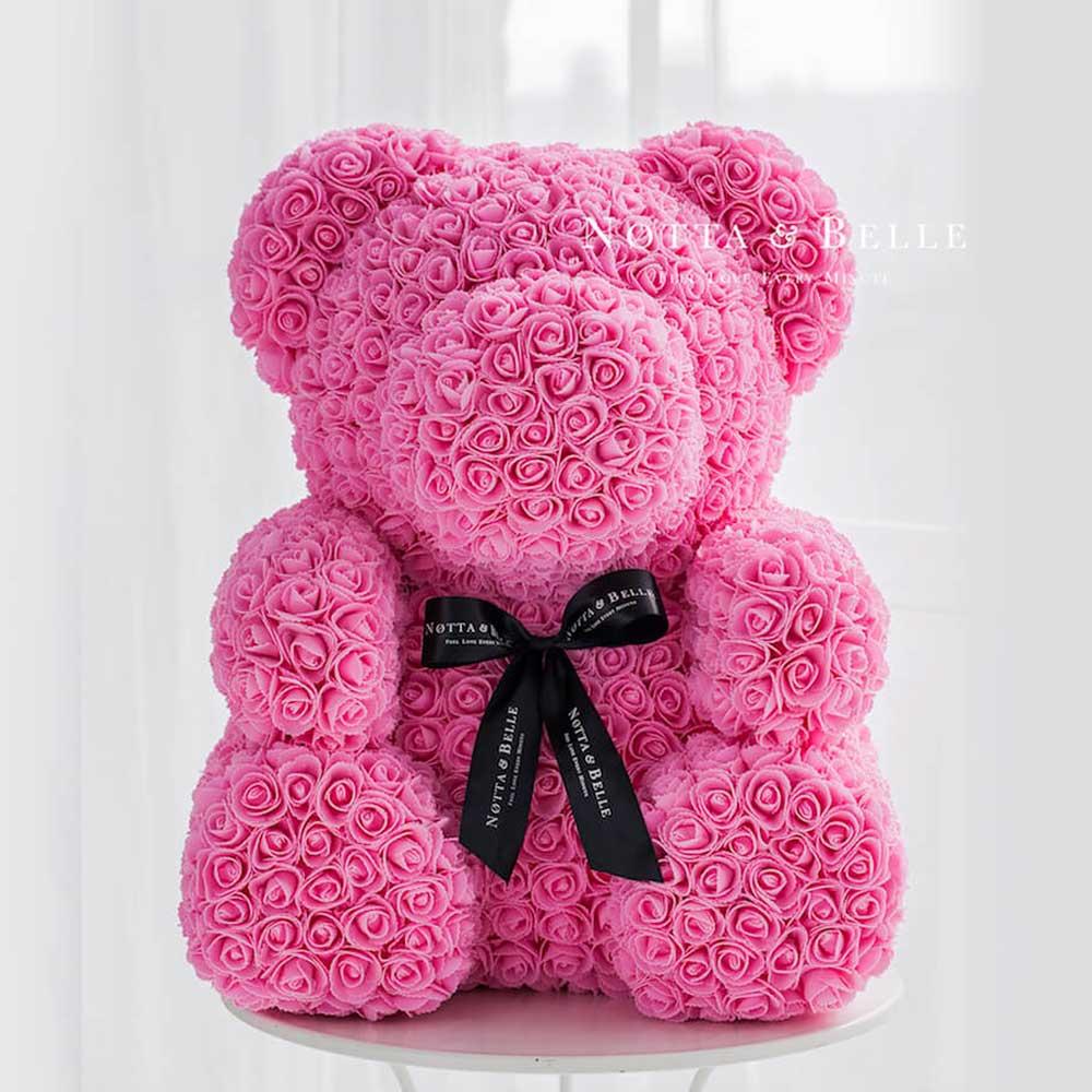 Розовый мишка из роз - 70 см