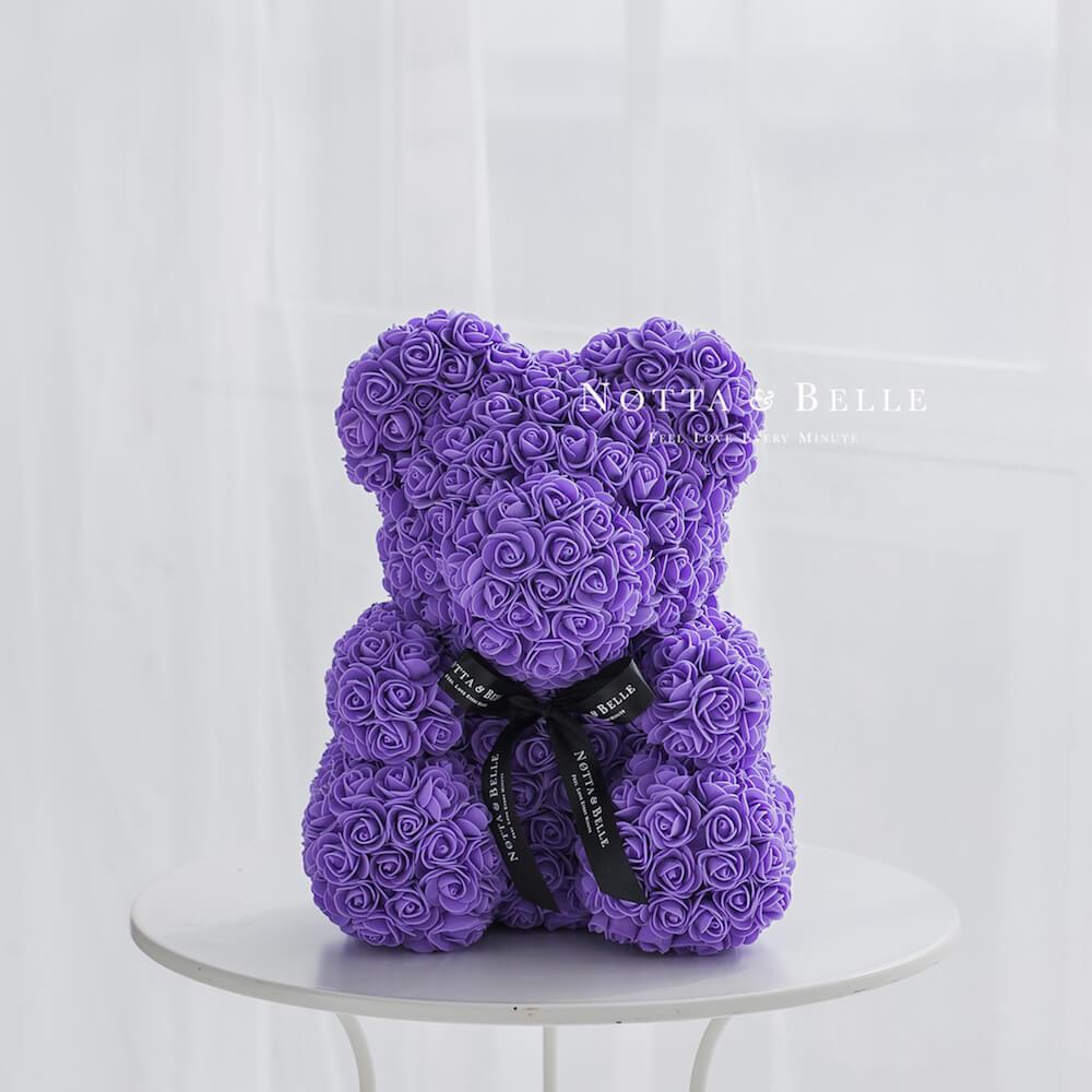 Фиолетовый мишка из роз - 40 см