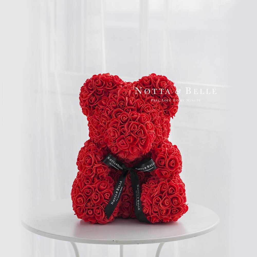 Красный мишка из роз - 40 см