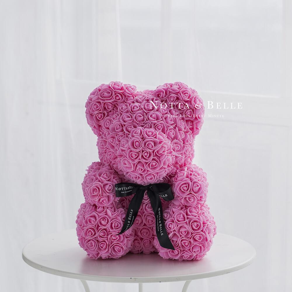 Розовый мишка из роз - 40 см