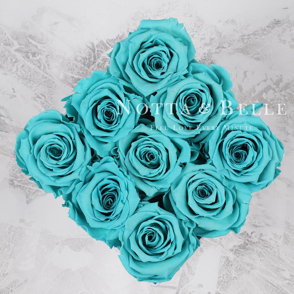 Tyrkysová kytice «Romantic» v černé krabičce - 9 ks