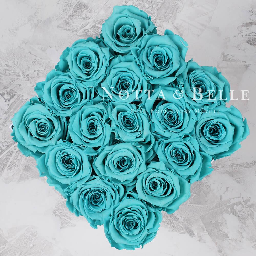 Tyrkysová kytice «Romantic» v černé krabičce - 17 ks