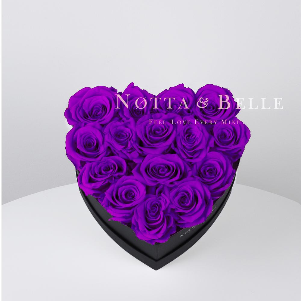Fialová kytice «Love» v černé krabičce - 15 ks