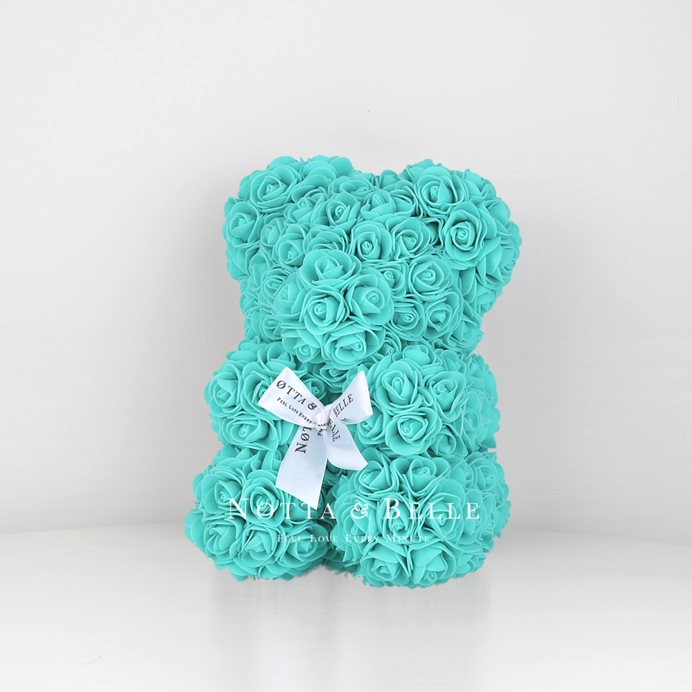 Turquoise Rose Bear - 10 in (25 cm)