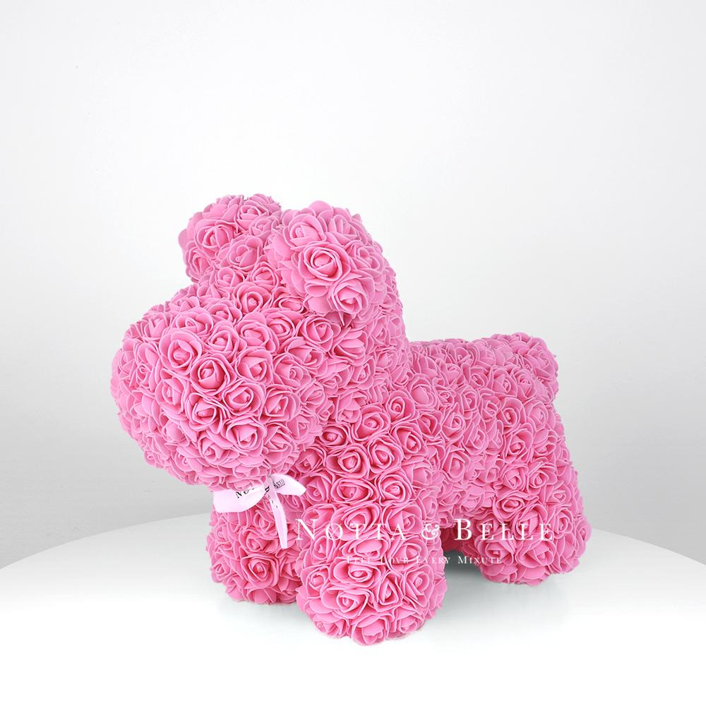 Petit chien de roses couleur rose - 35 cm