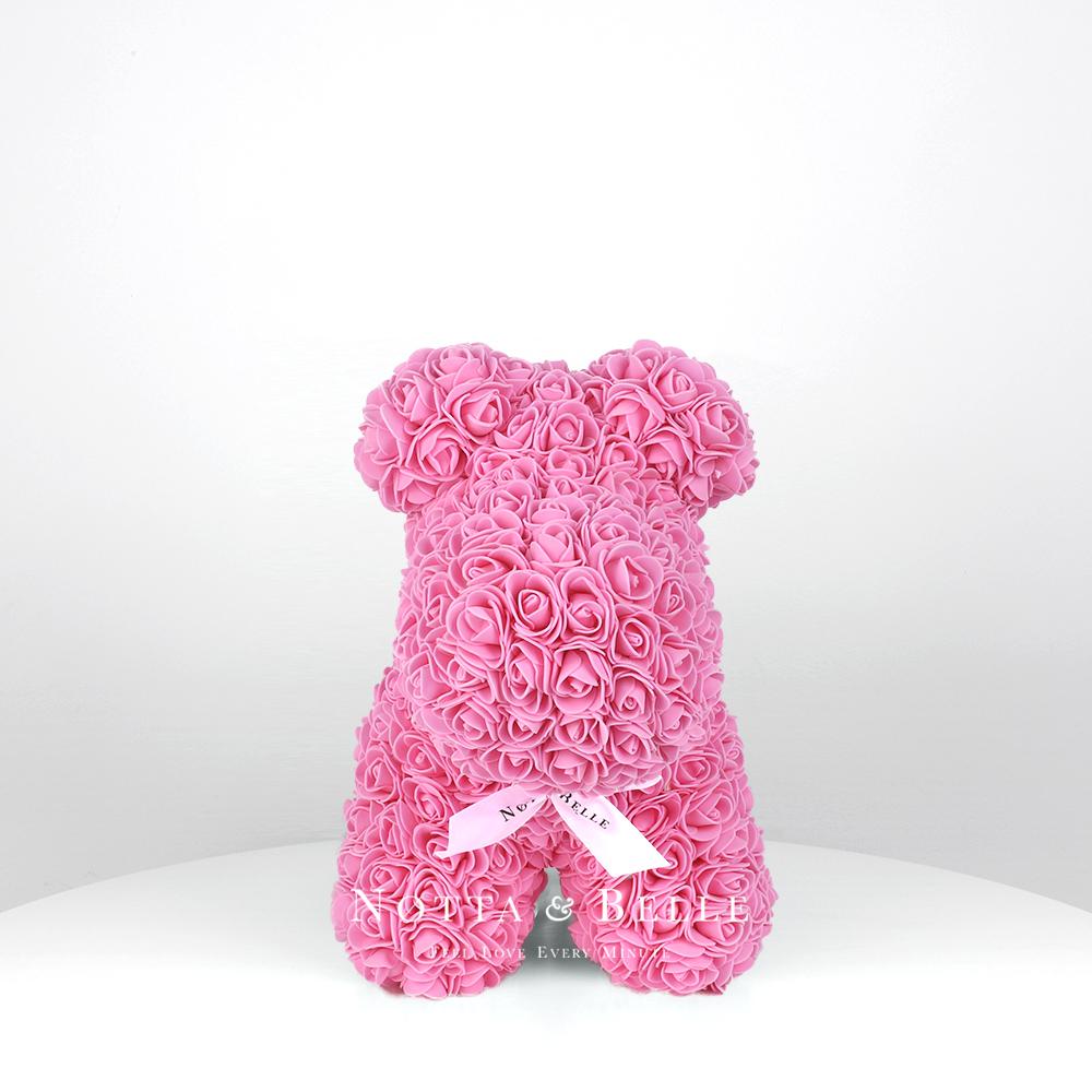 Růžový pejsek z růží – 35 cm