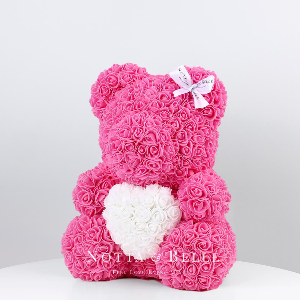 Orsetto di rose rosee con il cuore 35cm