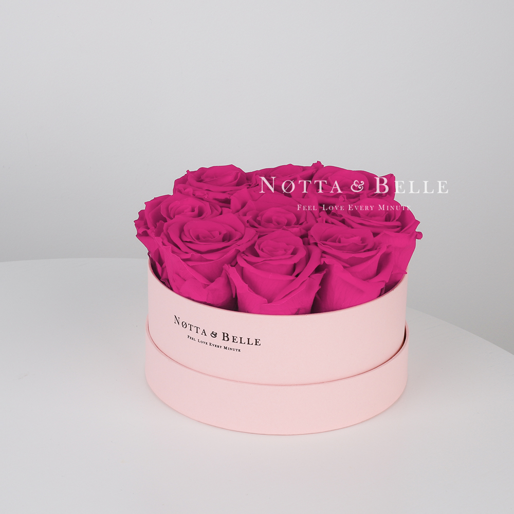 Fuchsia bouquet «Princess» in a Pink box - 9 roses