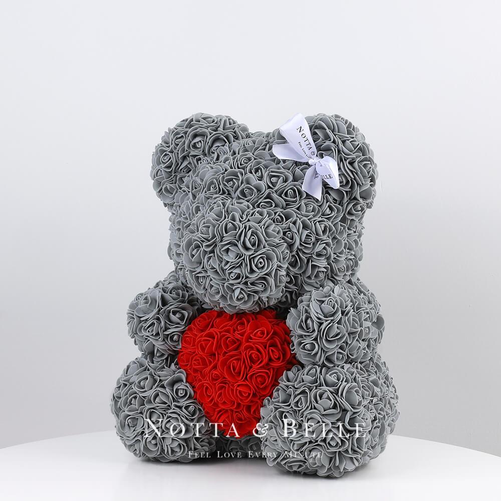 Серый мишка из роз c красным сердцем - 35 см по акции