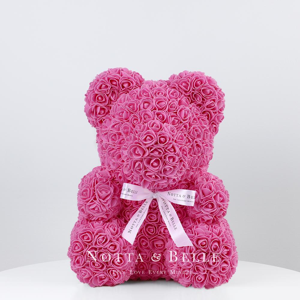 Розовый мишка из роз - 35 см по акции