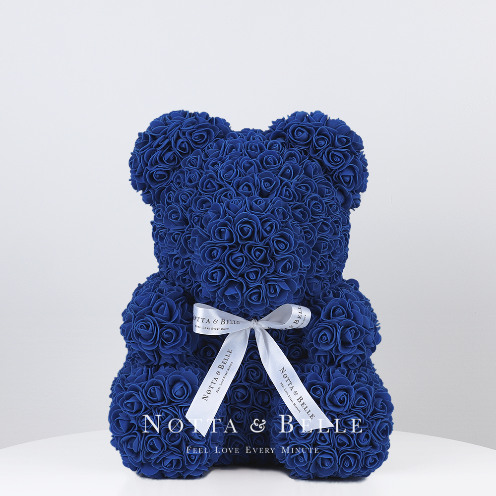 Blue Rose Bear - 14 in. (35 cm)