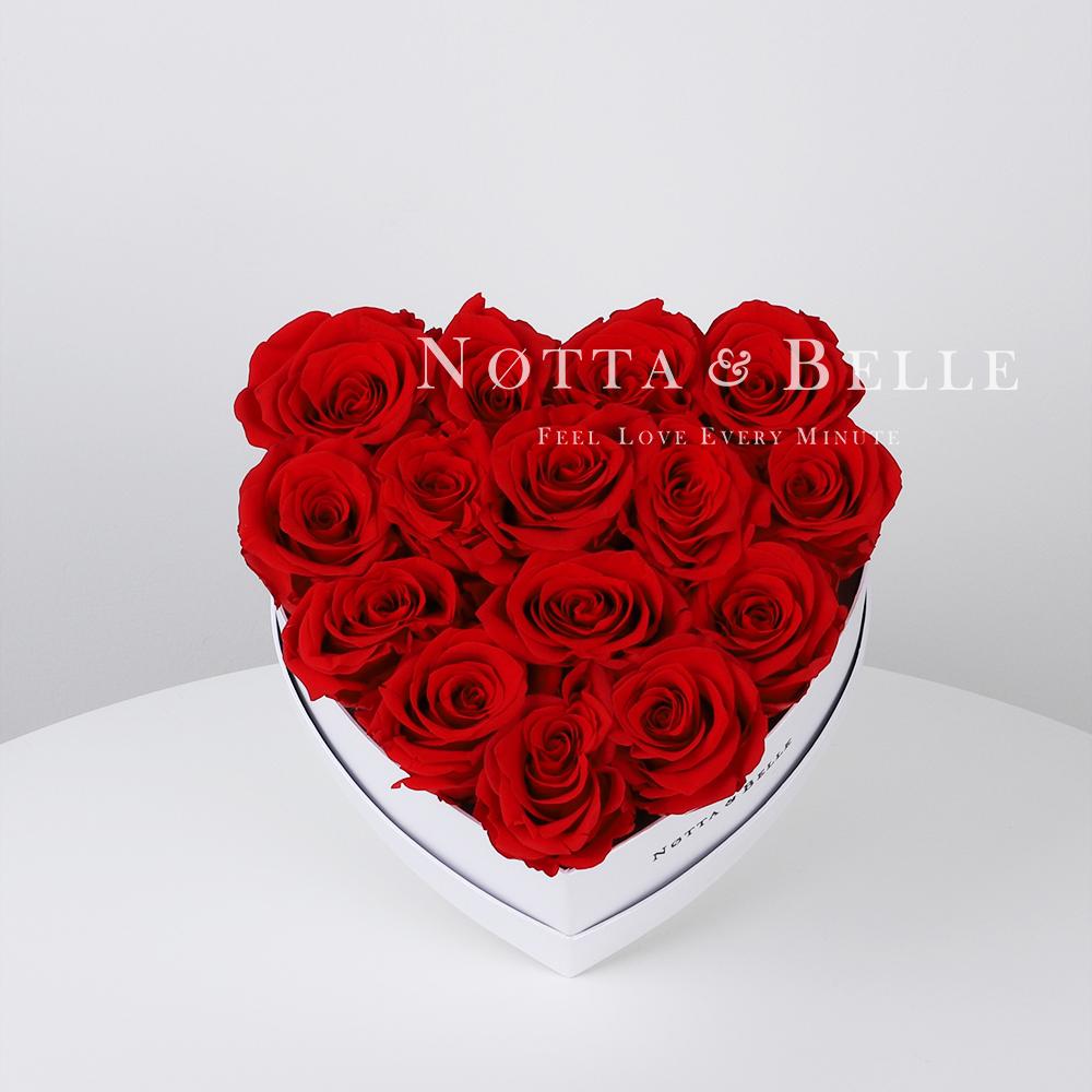 Ramo rojo «Love» en una caja blanca - 15 piezas