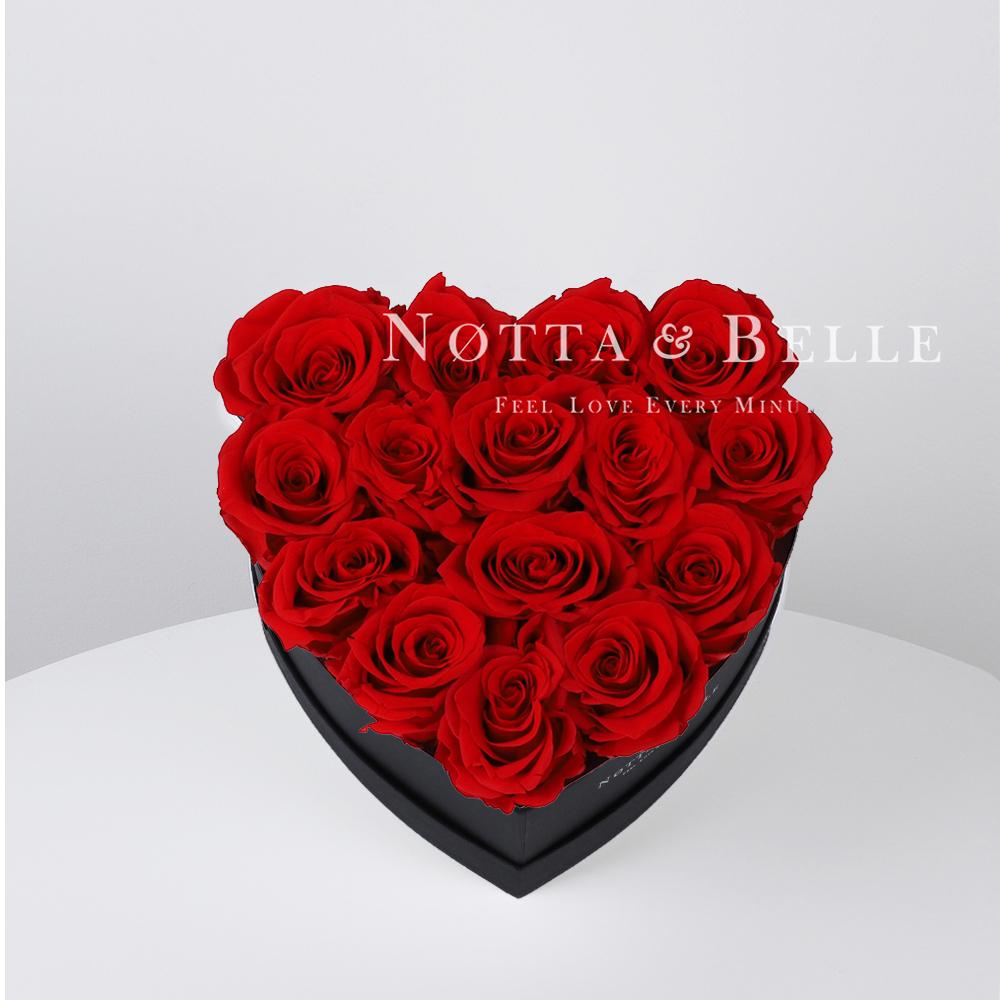 Ramo rojo «Love» en una caja negra - 15 piezas