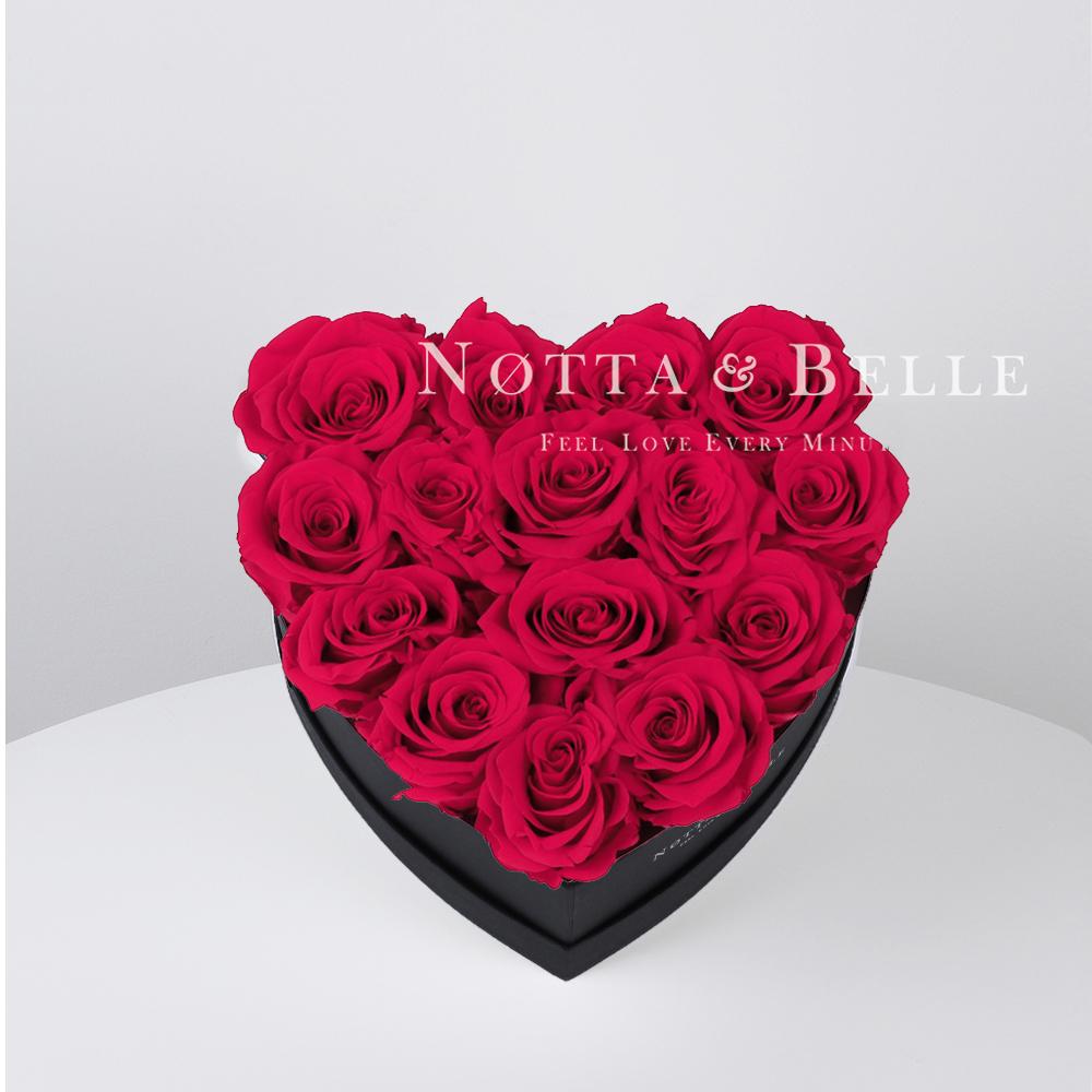 Ramo de color rosa brillante «Love» en una caja negra - 15 piezas