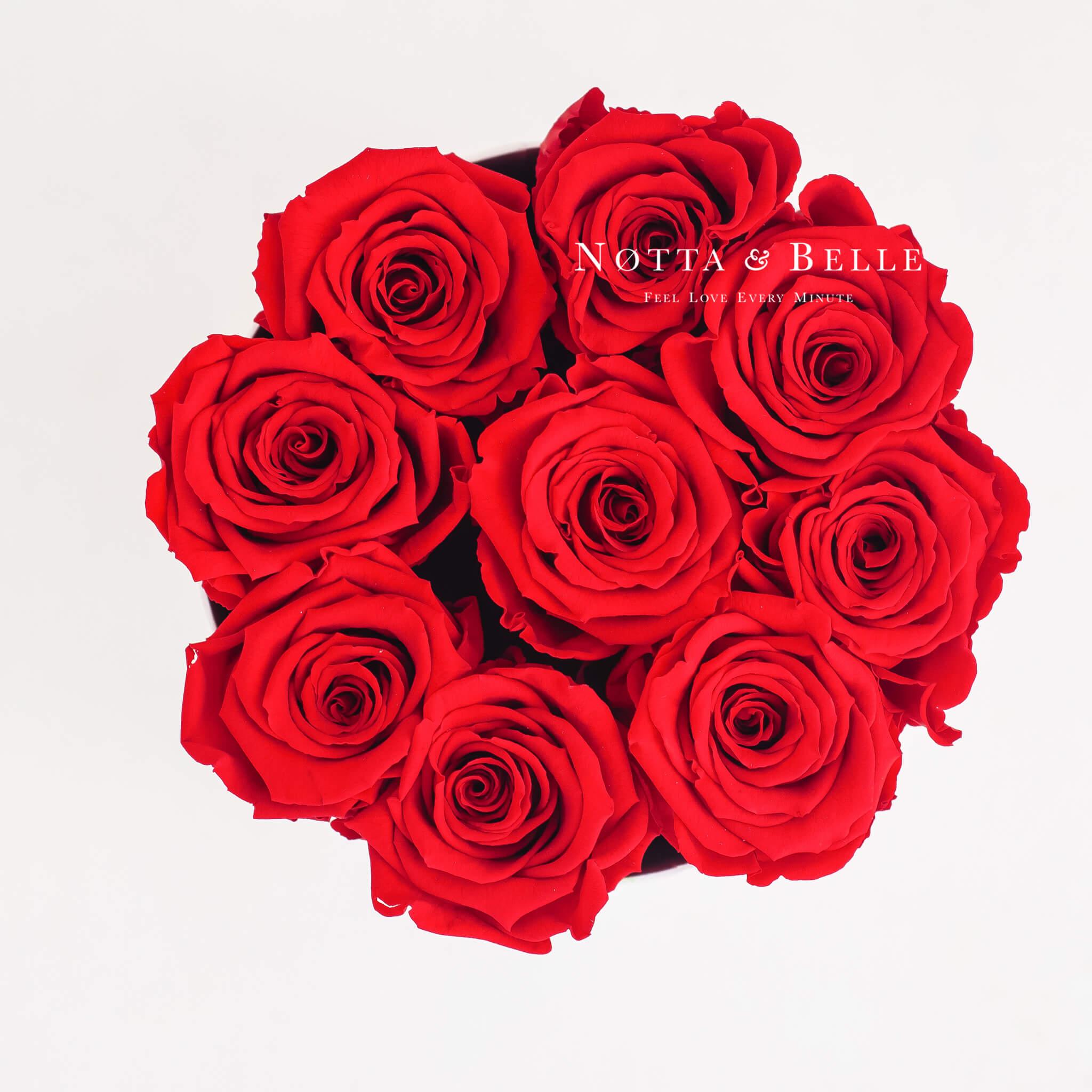 Ramo rojo «Princess» en una caja blanca - 9 piezas
