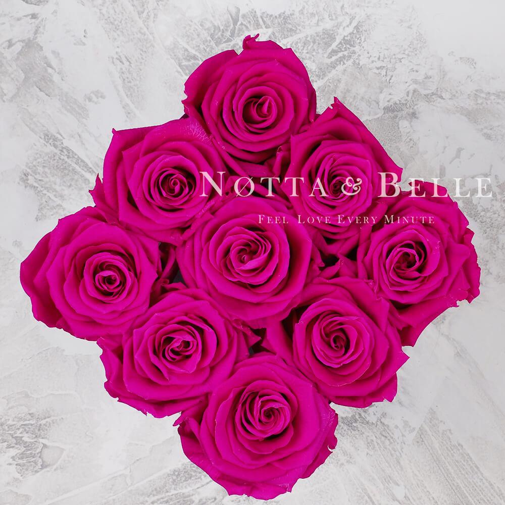 Mazzo colore fucsia «Romantic» in una scatola nera - 9 pz.