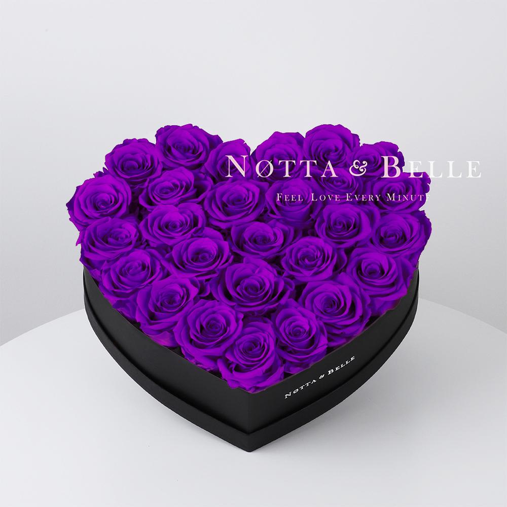 Mazzo colore viola «Love» in una scatola nera - 27 pz.