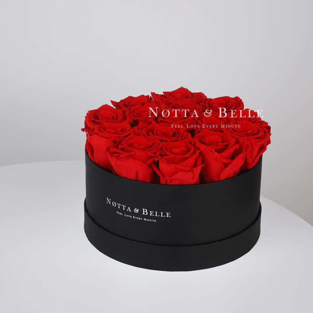 Mazzo colore rosso «Princess» in una scatola nera - 15 pz.