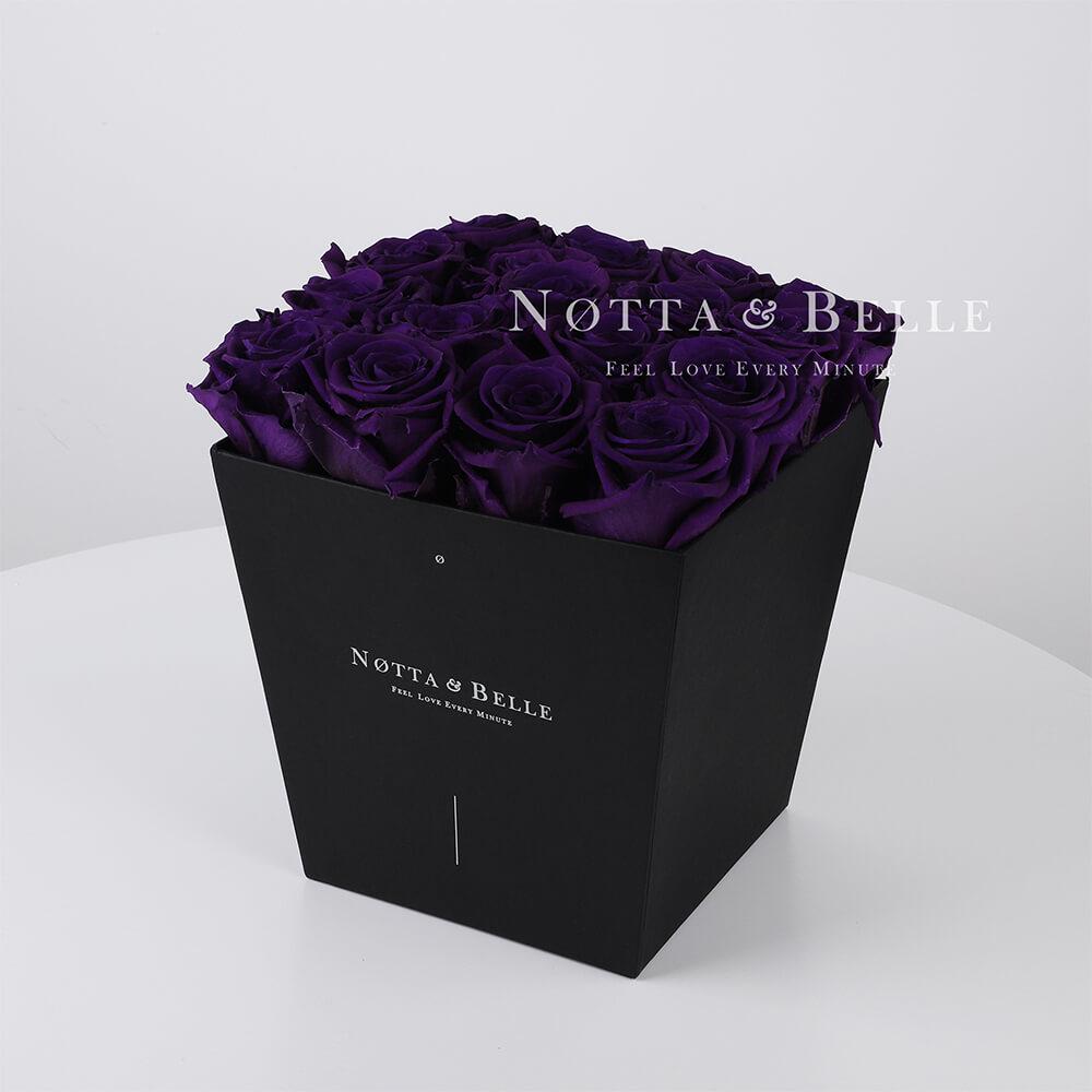 Mazzo colore viola «Forever» in una scatola nera - 17 pz.
