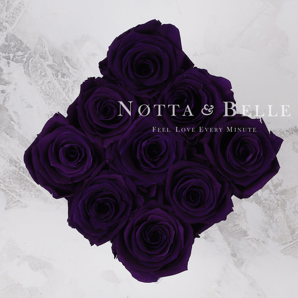 Mazzo colore viola «Romantic» in una scatola nera - 9 pz.