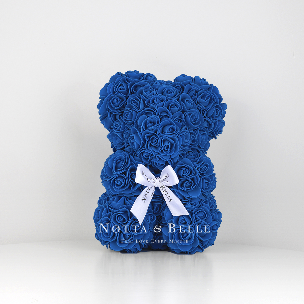 Синий мишка из роз - 25 см.