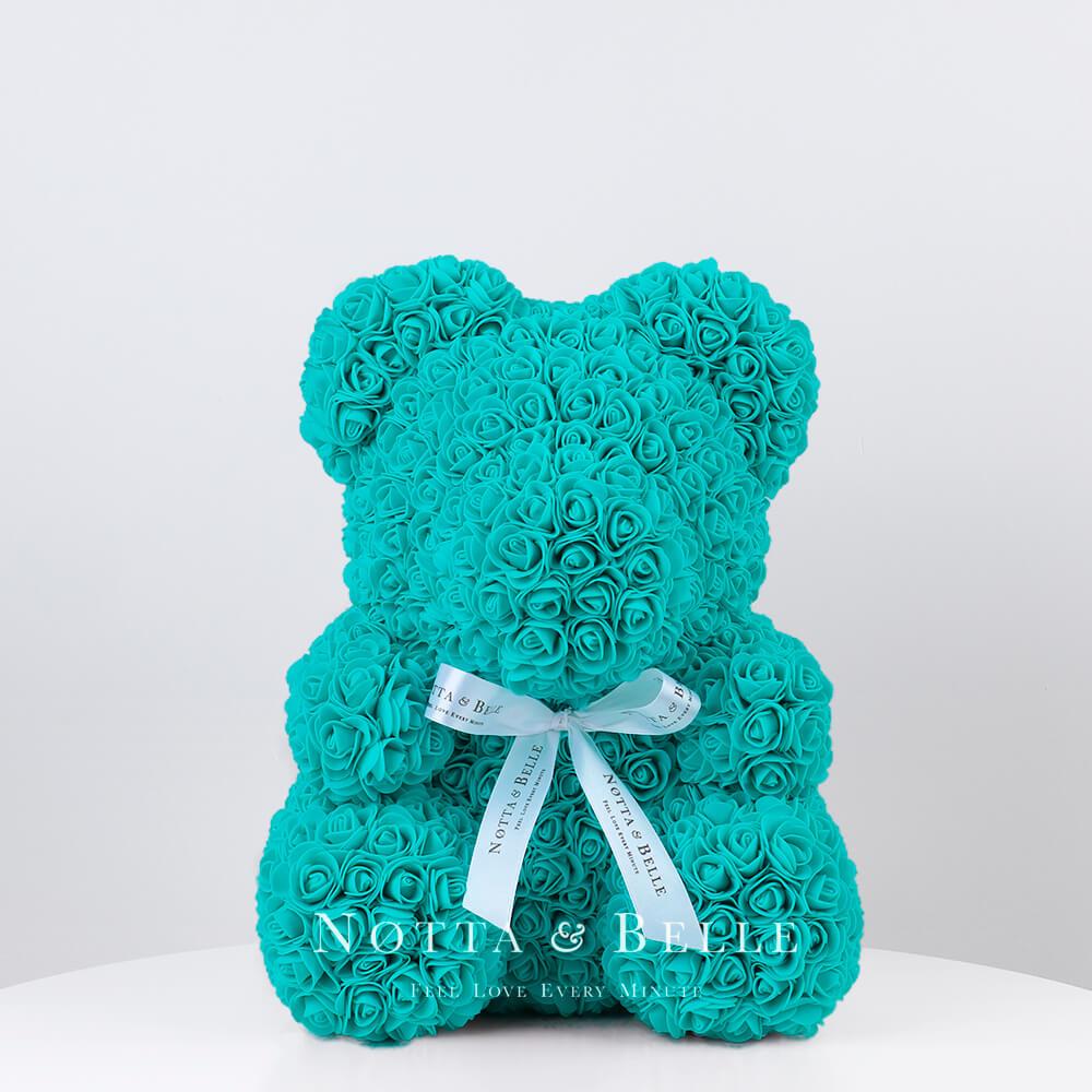 Бирюзовый мишка из роз - 35 см