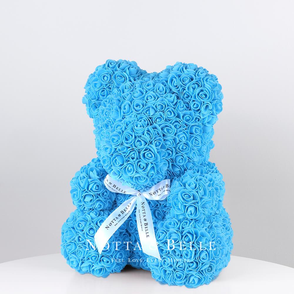 Голубой мишка из роз - 35 см