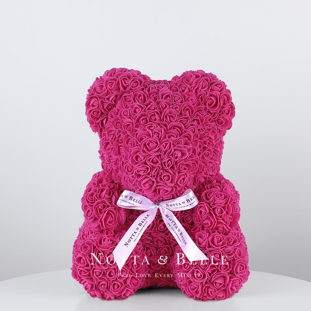 Мишка из роз цвета Фуксии - 35 см
