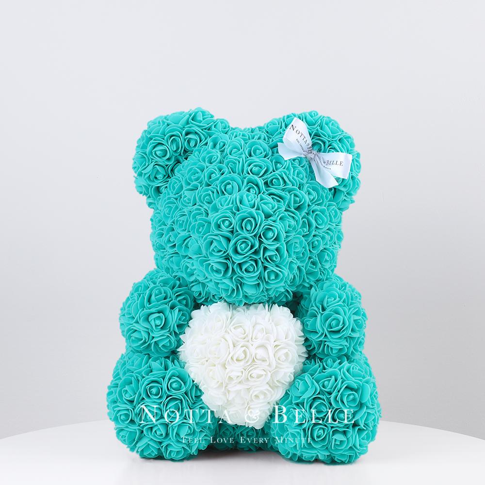 Мишка цвета Тиффани из роз с белым сердцем - 35 см