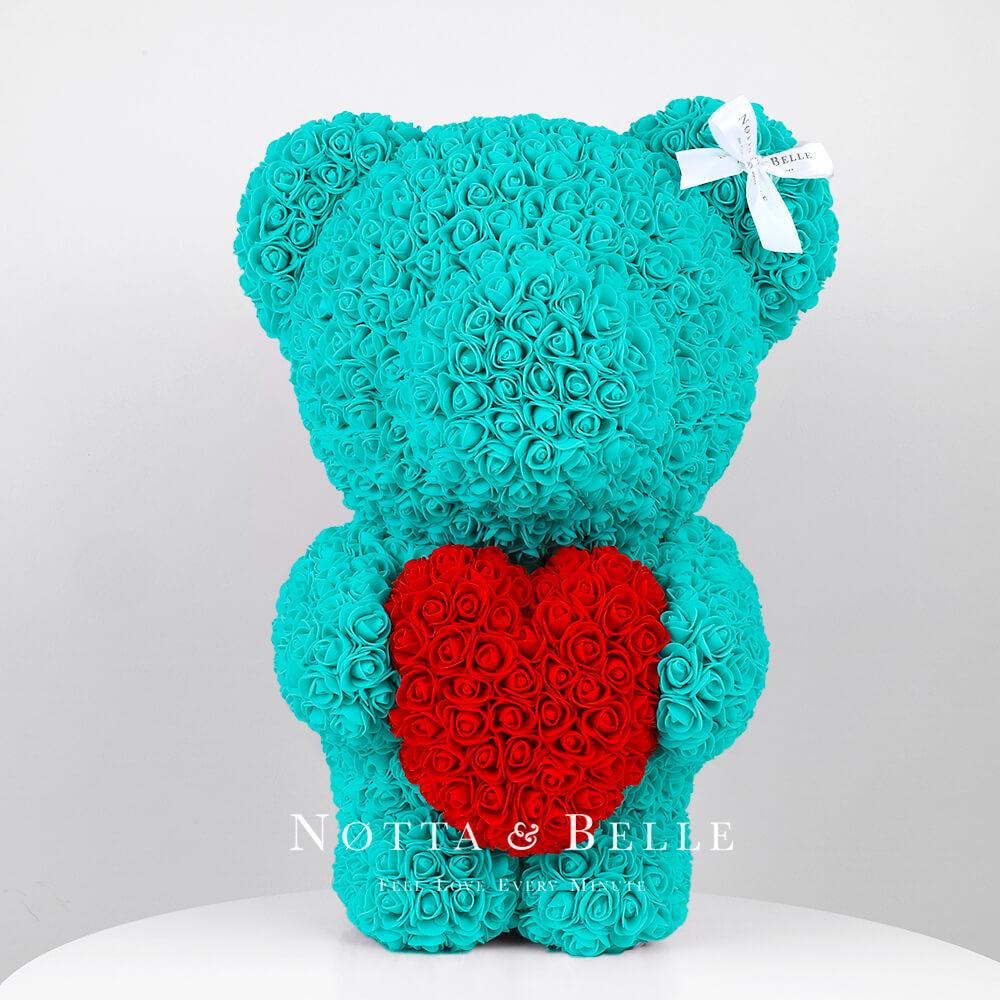 Мишка цвета Тиффани из роз с красным сердцем - 55 см