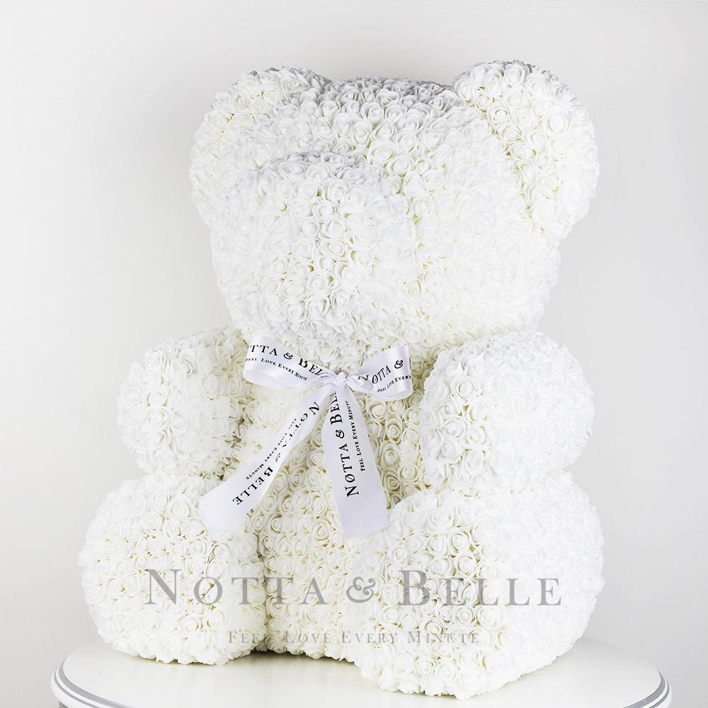 Белый мишка из роз - 65 см