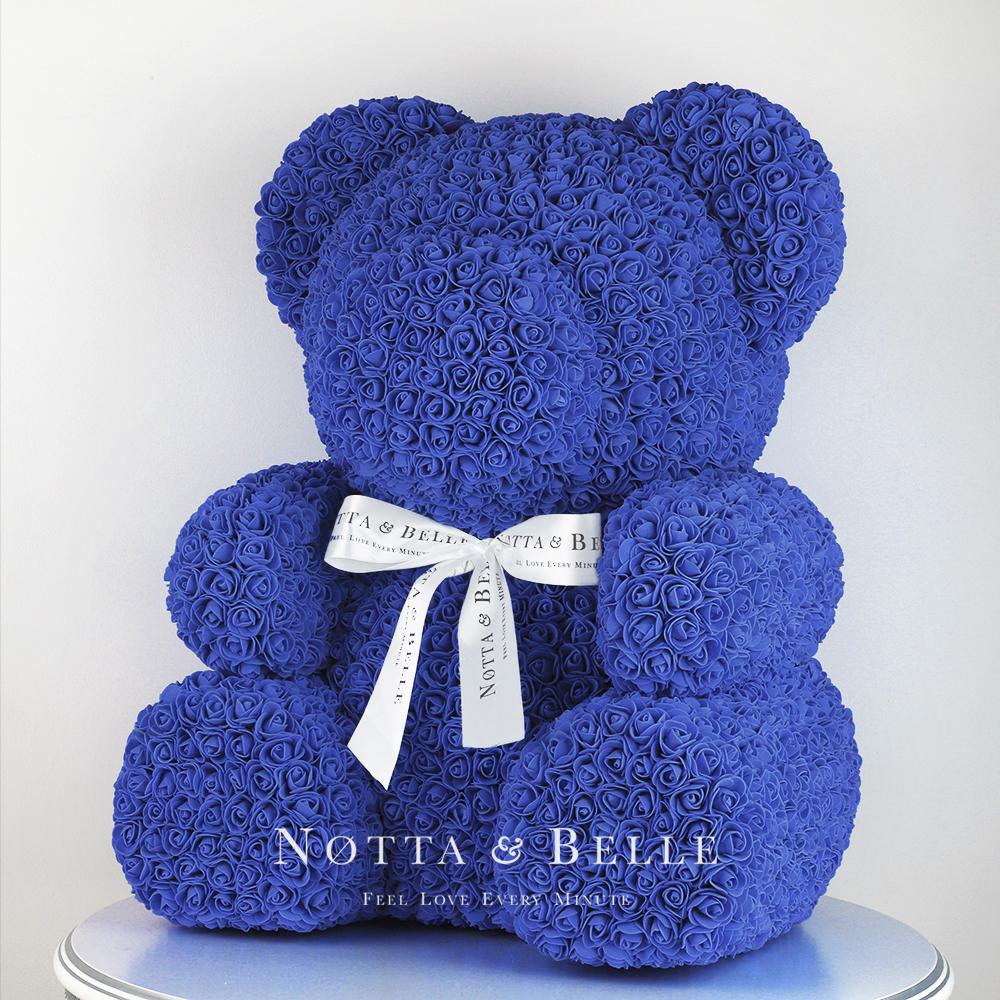 Синий мишка из роз - 65 см