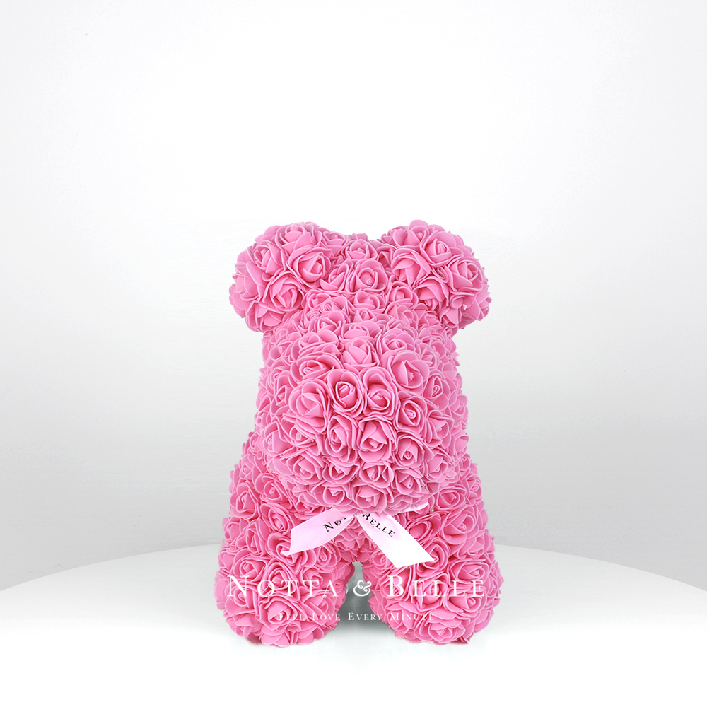 Розовая собачка из роз - 35 см