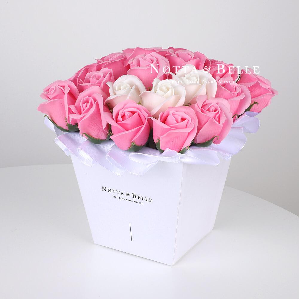 Мыльный букет розового цвета №221 из 21 розы