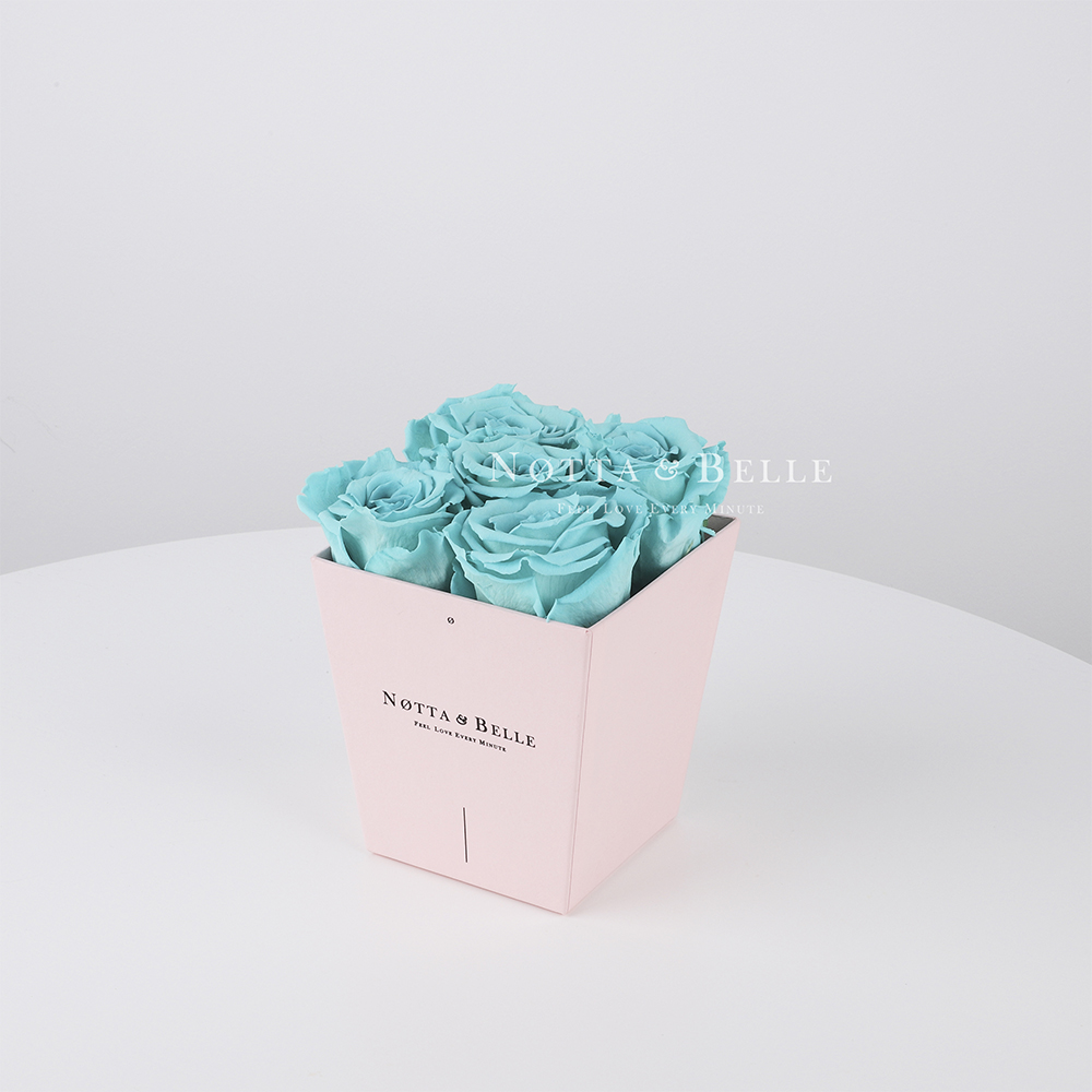 Долговечный букет из 5 бирюзовых роз - №045