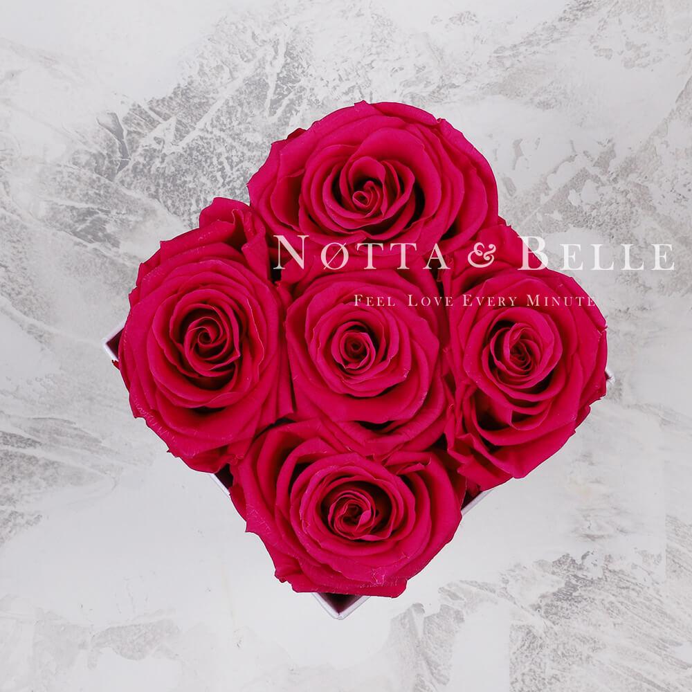 Долговечный букет из 5 ярко розовых роз - №065