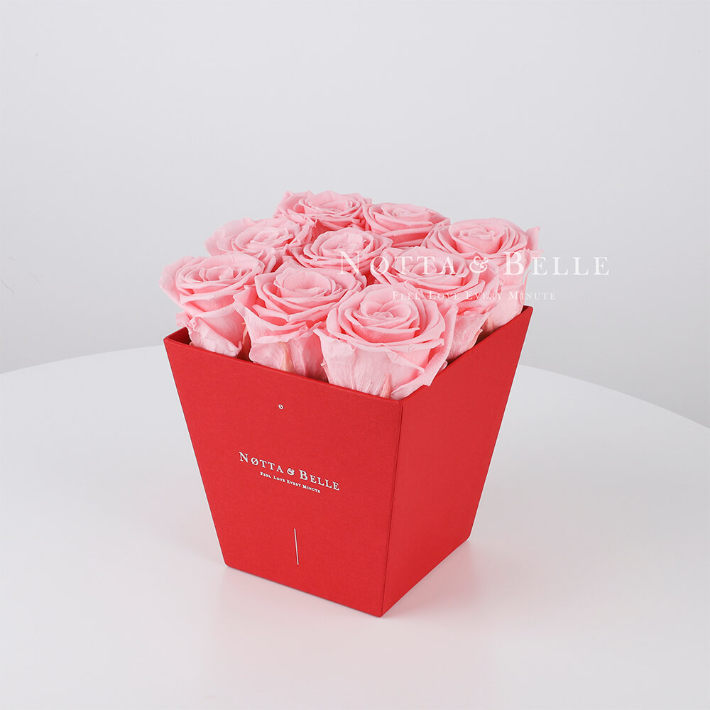 Долговечный букет из 9 розовых роз - №124
