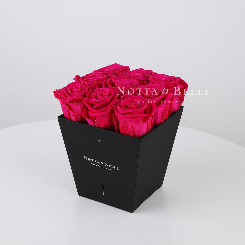 Долговечный букет № 161 из ярко розовых роз - 9 шт.