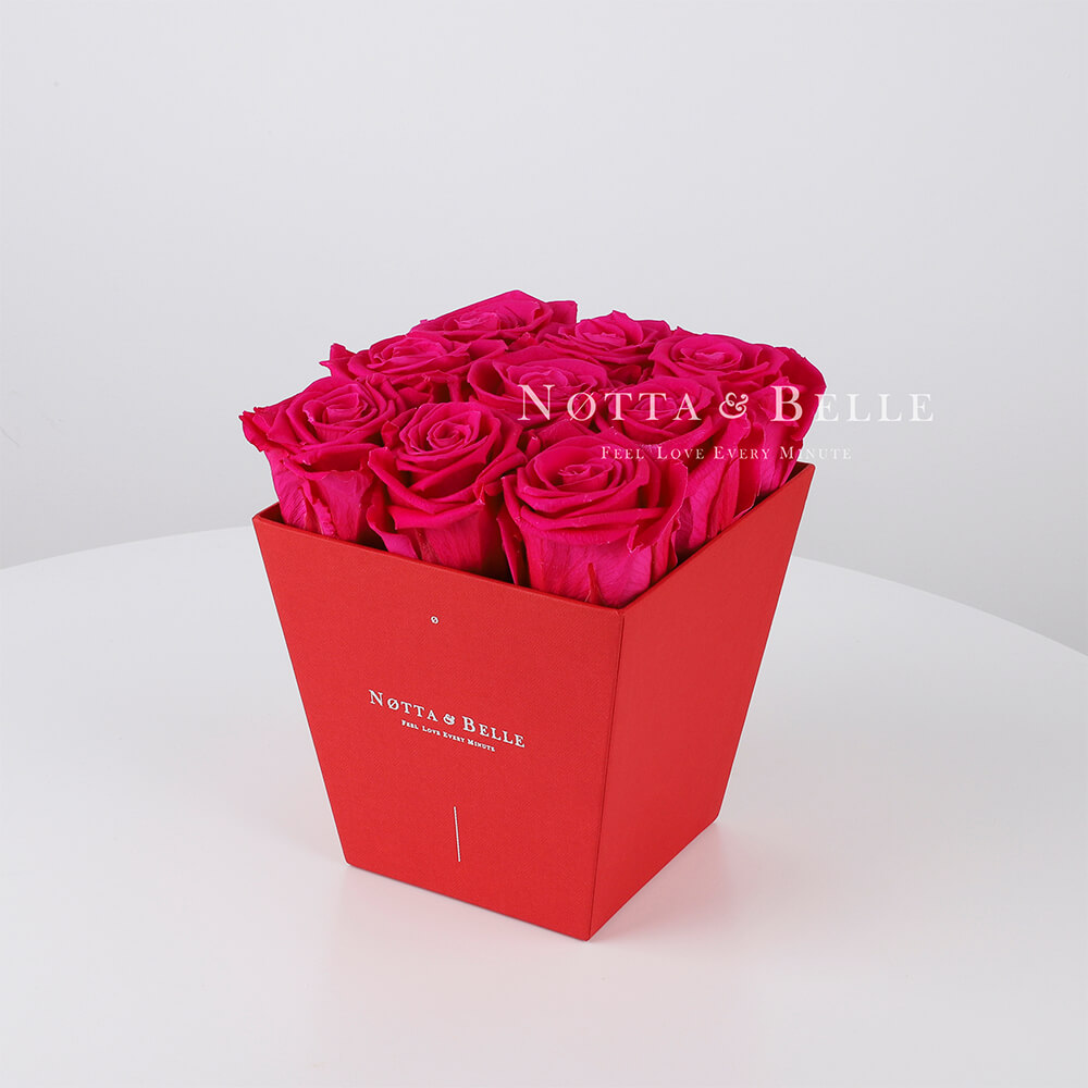 Долговечный букет из 9 ярко розовых роз - №164