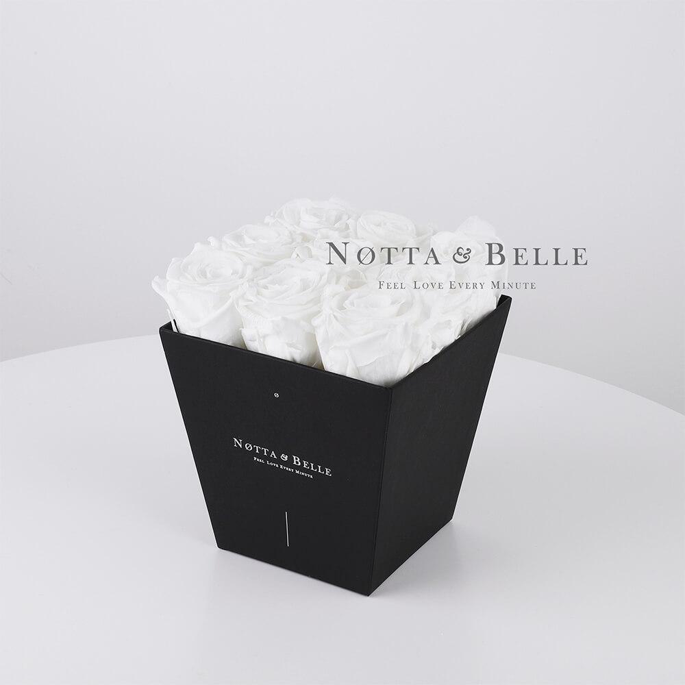 Долговечный букет из 9 белых роз - №182